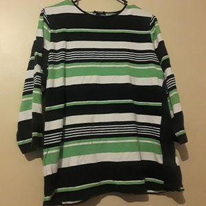 Green, Black and White Striped Half-Sleeve Blouse